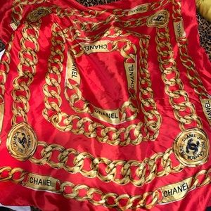 Red & Gold Silk Scarf/ wrap/ top🧣